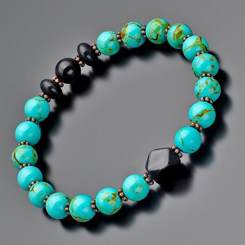 Стильный модный мужской браслет из натуральных агатов, бирюзы и гипоаллергенного сплава металлов Rico la Cara AMX006147