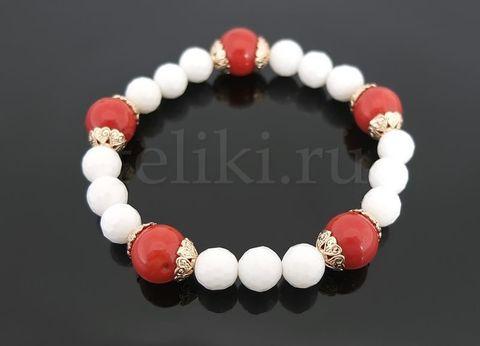 браслет из кахолонга и коралла_браслет красно-белый_фото
