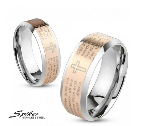 Мужское кольцо «Spikes» из стали с молитвой на английском языке