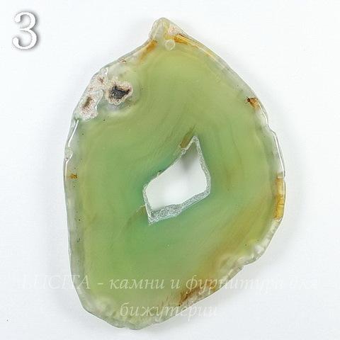 Подвеска Срез Агата, цвет - салатово-зеленый, 57-92 мм (№3 (69х49 мм))