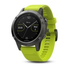 Умные мужские спортивные часы Garmin Fenix 5 - серые с желтым ремешком 010-01688-02