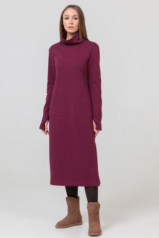Платье длинное с начесом бордовое