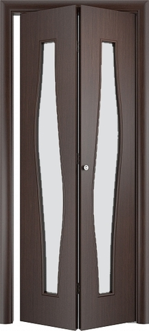 Дверь складная Верда С-10 (2 полотна), белое матовое, цвет венге, остекленная