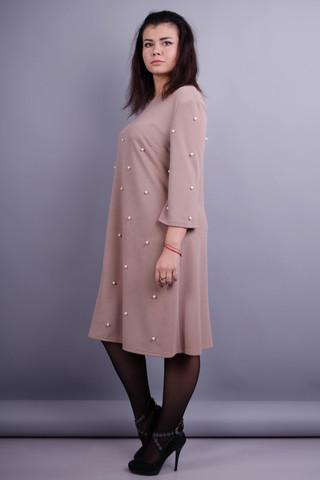 Жемчуг. Женское нарядное платье плюс сайз. Бежевый.