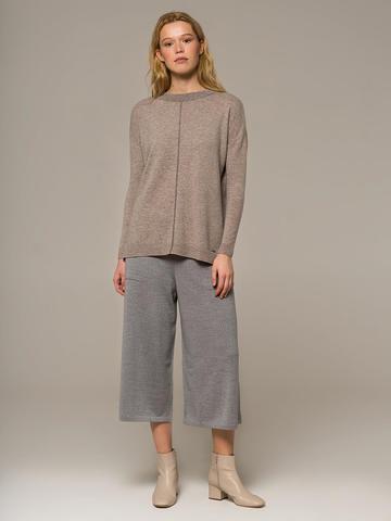 Женский джемпер песочного цвета свободного кроя из шерсти и кашемира - фото 3
