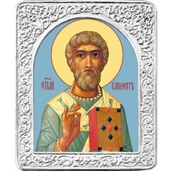 Святой Климент. Маленькая икона в серебряной раме.