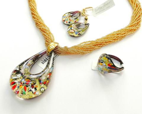 Комплект Арлекино золотистый (серьги-капли, кулон на бисере, кольцо)