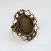 Основа для кольца с сеттингом для кабошона 19х15 мм (цвет - античная бронза)