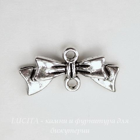 "Коннектор ""Бантик"" (1-1) 20х10 мм (цвет - античное серебро)"