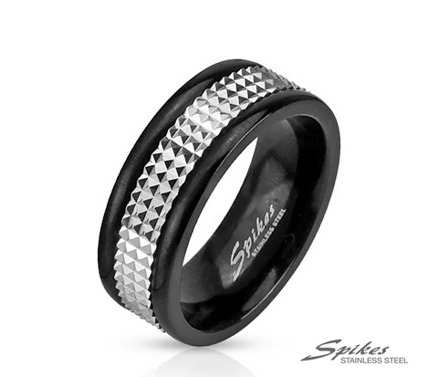 Мужское черное кольцо из стали с вращающейся вставкой, «Spikes»