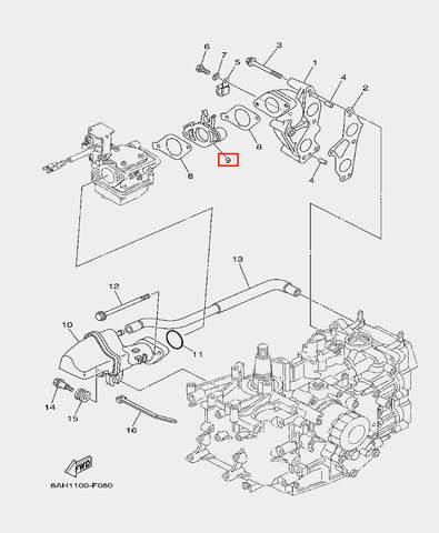 Изолятор карбюратора для лодочного мотора F20 Sea-PRO (6-9)