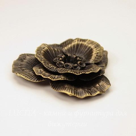 """Штамп """"Цветок"""" 44х41 мм (цвет - античная бронза)"""