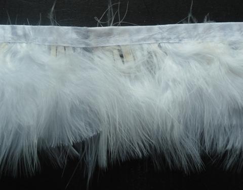 Тесьма  из перьев индейки h-9 см., упаковка 9 метров, белый