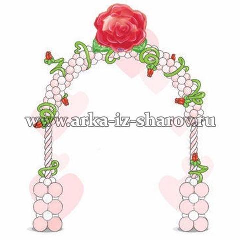 арка их шаров с цветочками