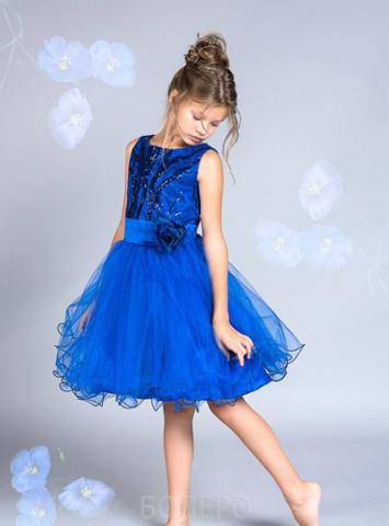 Синее нарядное платье (арт.306)