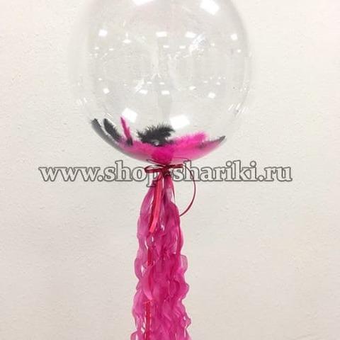 шар с перьями и декоративным хвостом