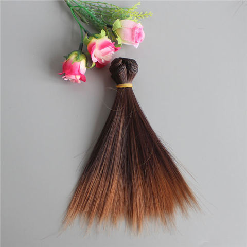 Волосся для ляльки, треси 15 см. Каштанові з омбре.