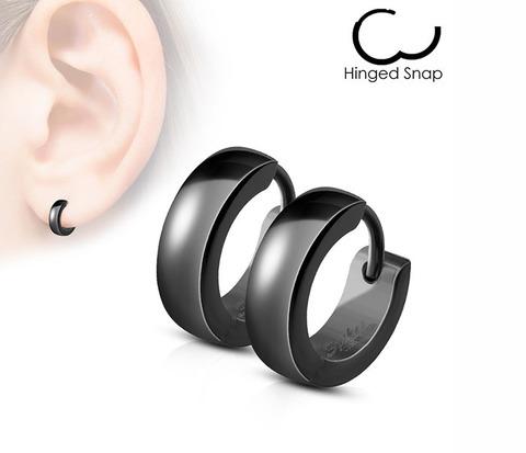 Стильные серьги кольца «Spikes» из стали черного цвета