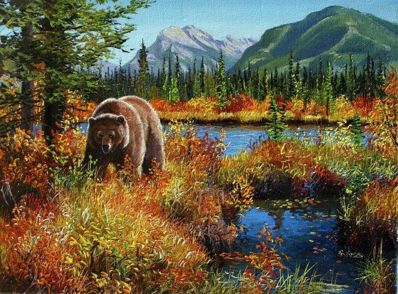 Картина раскраска по номерам 50x65 Медведица в осеннем ...