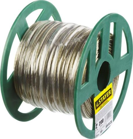 Трос стальной в полимерной оболочке, d=2,0 мм, L=200 м, STAYER Master 30410-20
