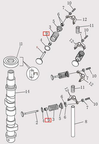 Сальник клапана для лодочного мотора F9.8 Sea-PRO (4-9)