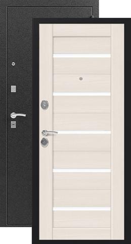 Дверь входная Сибирь S-7, 2 замка, 1 мм  металл, (чёрный шёлк+лиственница светлая)