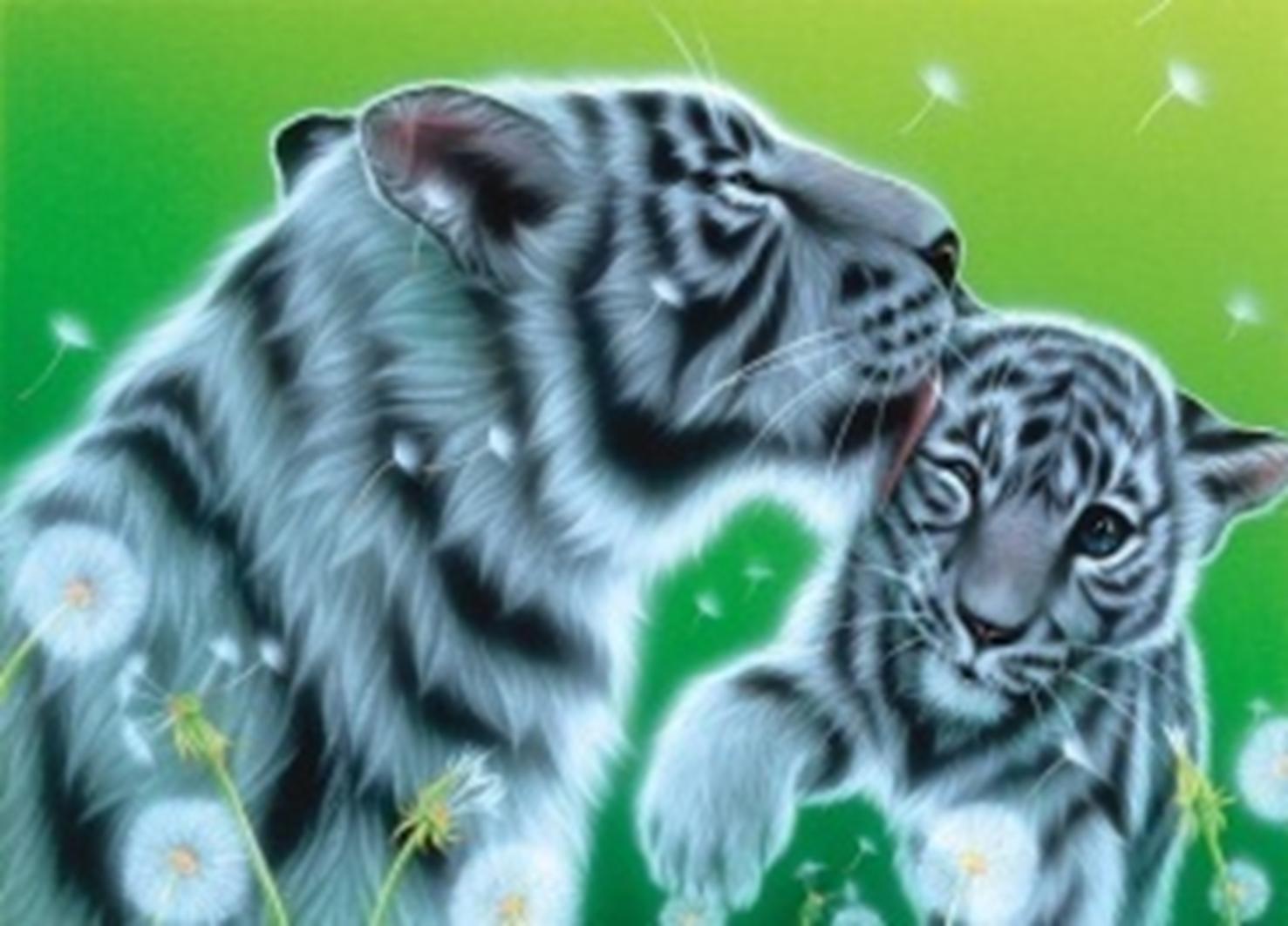 Картина раскраска по номерам 30x40 Тигрица с тигрёнком ...