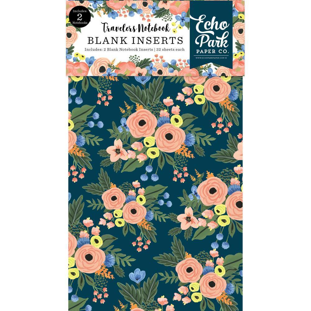 Набор внутренних блоков для тревелбука  - 11х21 см-Echo Park Traveler's Notebook - Fancy Flora Blank- 2 шт