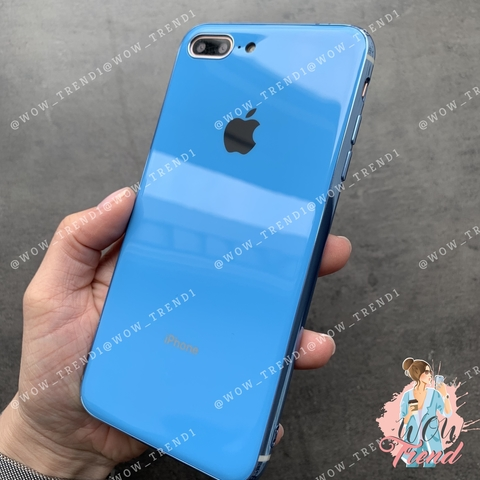 Чехол iPhone 7/8 Plus Glass Silicone Case Logo /blue/