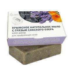 Крымское натуральное мыло с грязью Сакского озера ANTI-АКНЕ, для проблемной кожи, 100г