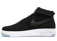 Кроссовки Мужские Nike Air Force 1 Mid Flyknite  Black White
