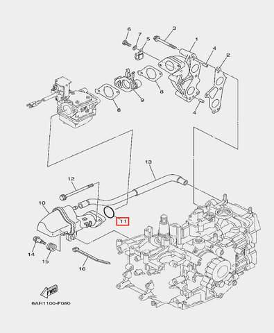 Кольцо прокладка глушителя для лодочного мотора F20 Sea-PRO (6-11)