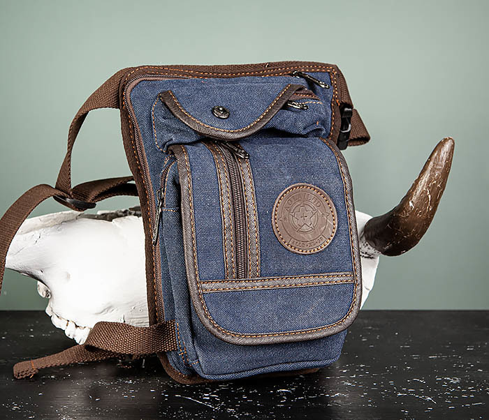 BAG506-3 Небольшая сумка на бедро из текстиля синего цвета