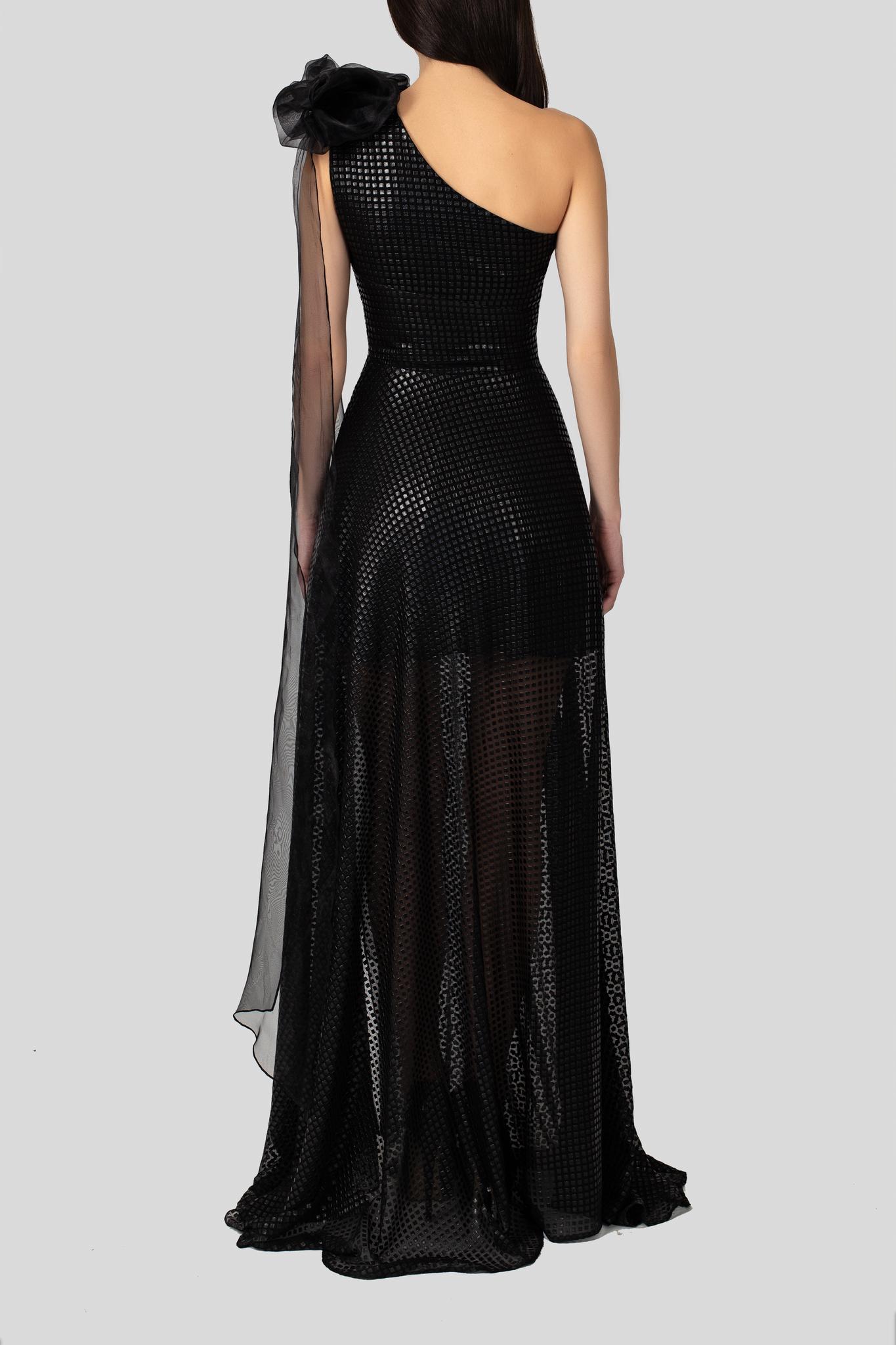 Платье на одно плечо с декором из кожи