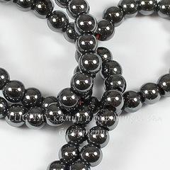 Бусина Гематит (искусств), шарик, цвет - черный, 4 мм, нить