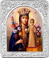 Маленькая икона Божьей матери в серебряной раме Неувядаемый (Благоуханный) цвет.