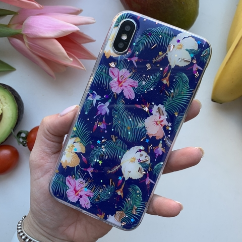 Чехол iPhone X/XS Magic Flower /dark blue/