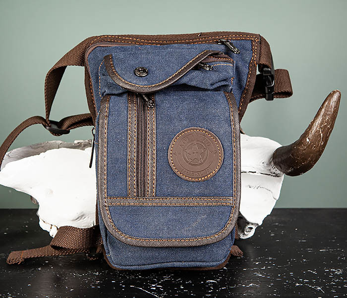 BAG506-3 Небольшая сумка на бедро из текстиля синего цвета фото 02
