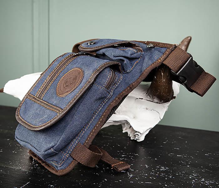 BAG506-3 Небольшая сумка на бедро из текстиля синего цвета фото 04