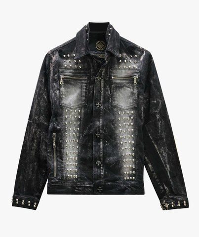 Куртка джинсовая The Saints Sinphony DISTRESSED BLACK SKULL JACKET