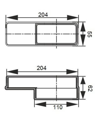 Соединитель эксцентриковый 110х55/204х60 мм пластиковый