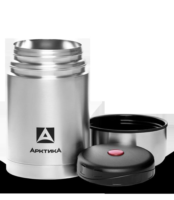 Термос для еды Арктика (1 литр) с супер-широким горлом, стальной, чехол*