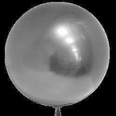 Шар (18''/46 см) Сфера 3D, Deco Bubble, Серебро, Хром