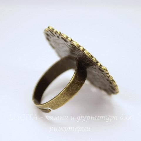Основа для кольца с сеттингом для кабошона 20 мм (цвет - античная бронза)