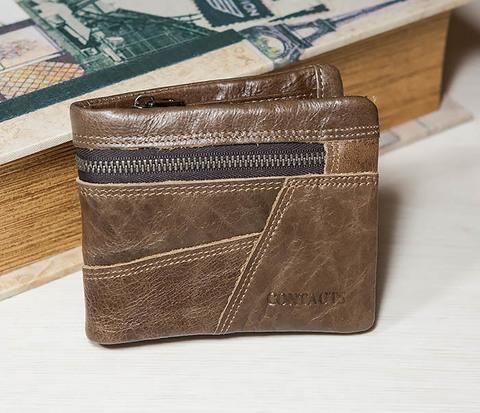 Удобное мужское портмоне из кожи с отделением на молнии