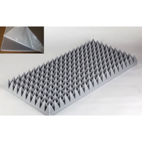 негорючая  акустическая панель  Пирамида ECHOTON FIREPROOF 100x50x10cm  из материала  BASOTECT серый с адгезивным слоем