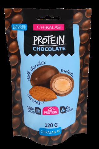 Протеиновое драже в шоколаде Chikalab Миндаль, 120 гр
