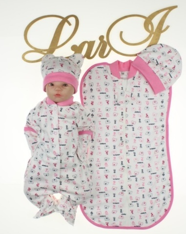 Набор Baby - 4 предмета (кремовый/розовый)
