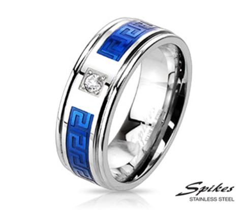 Стальное кольцо со вставками синего цвета и камнем