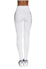Легинсы для фитнеса белого цвета с леопардовыми вставками